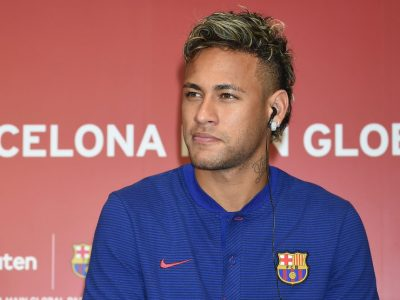TOKYO, JAPAN - JULY 13: Neymar Jr attends the press conference for Rakuten - FC Barcelona Global Partnership Launch on July 13, 2017 in Tokyo, Japan. (Photo by Jun Sato/WireImage)